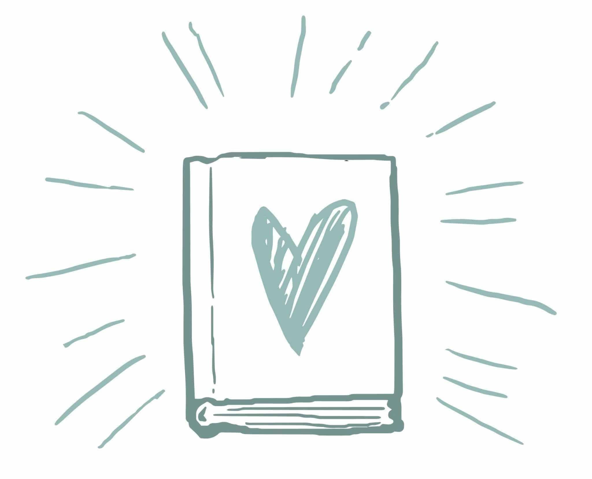 Illustration: Buch mit Herz