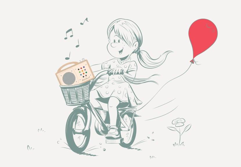 Illustration: Kind fährt seinen Player im Fahrrad herum