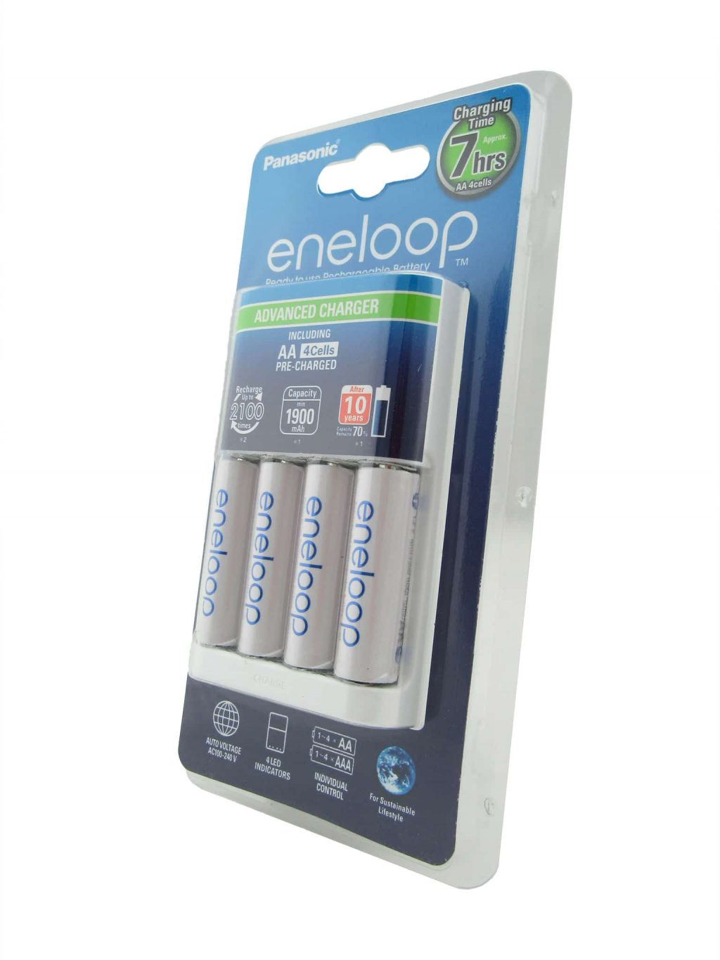 Eneloop charger including AA-size rechargeable batteries