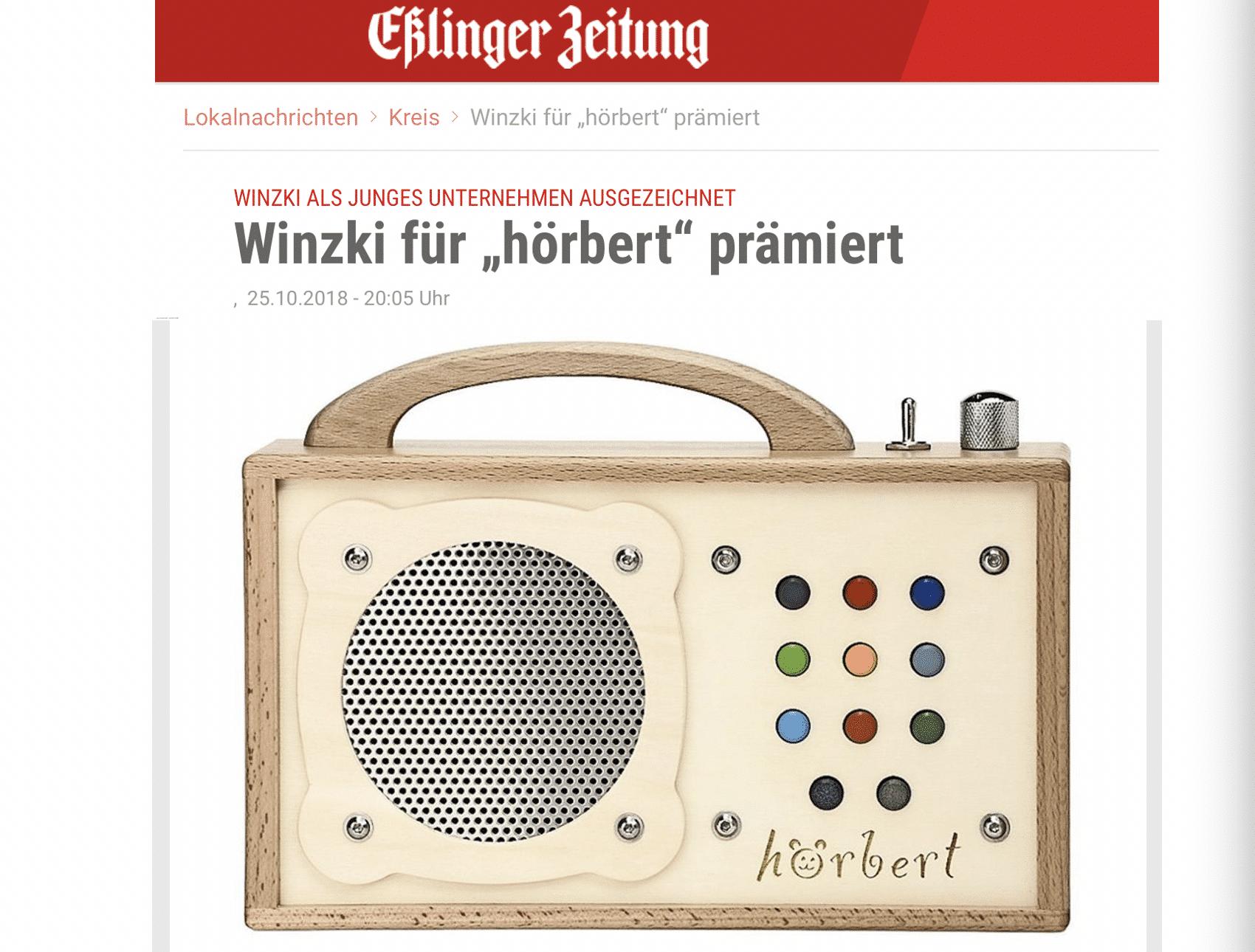 10/2018 - Esslinger Zeitung_Winzki als JUNGES UNTERNEHMEN beim L-Bank Wettbewerb ausgezeichnet