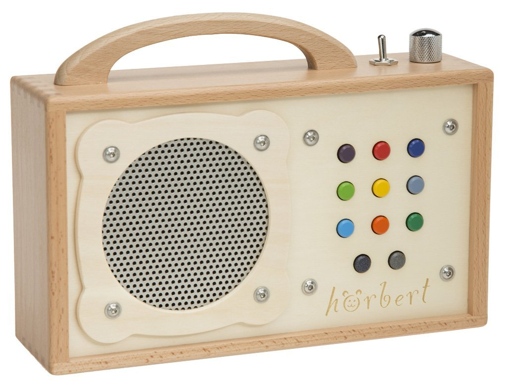 Mp3 Player For Children Horbert Made Of Wood And Stainless Steel Portable With Built In Speaker Volume Limiter And Sd Card For 17h Content In 9 Playlists No Headphones And No Display